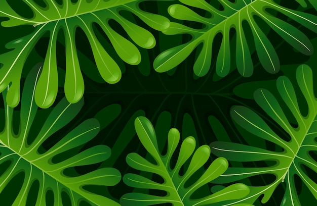 Groene tropische bladeren achtergrond Premium Vector