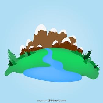 Groene vallei en de bergen template