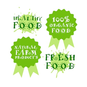 Groene vers voedsel logo's organische en gezonde producten labels instellen