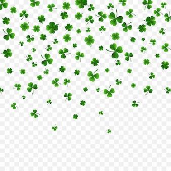 Groene vier en boomblad klaverblaadjes op transparante achtergrond