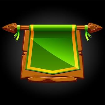 Groene vlag op een houten oud gebroken bord. illustratie van een banner voor het spel.