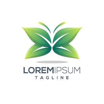 Groene vlinder blad logo sjabloon
