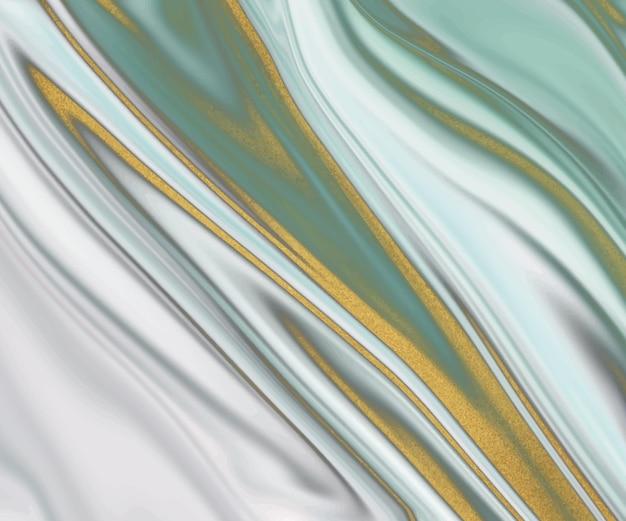 Groene vloeibare inkt met gouden glitter textuur.
