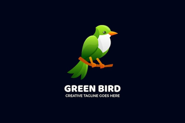 Groene vogel kleurovergang logo sjabloon