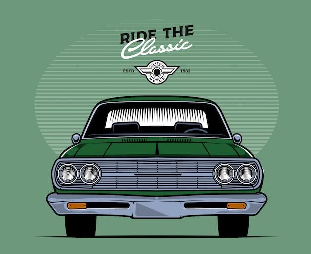 Groene voorzijde klassieke auto