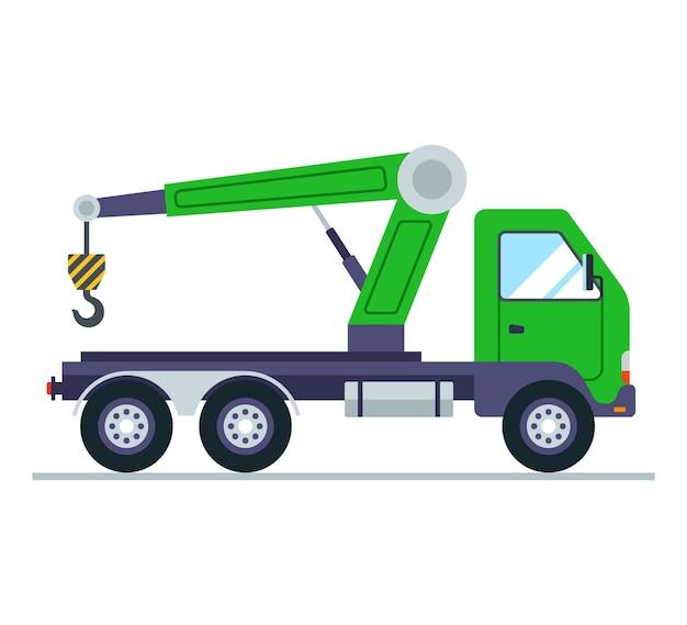 Groene vrachtwagen met een kraan. vlak