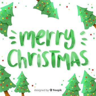 Groene vrolijke kerst belettering