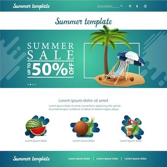 Groene website interface sjabloon voor zomer kortingen en verkoop