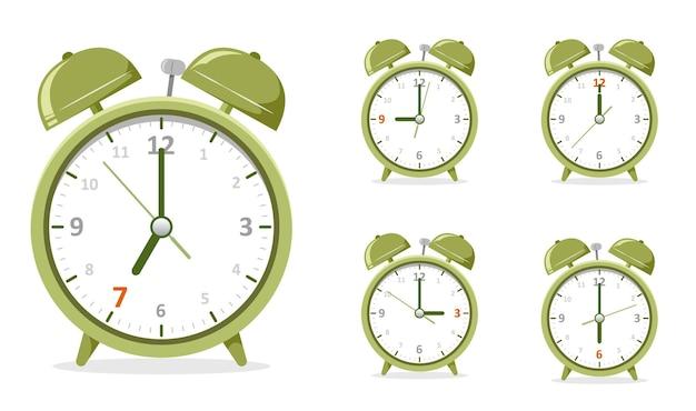 Groene wekker toon uur