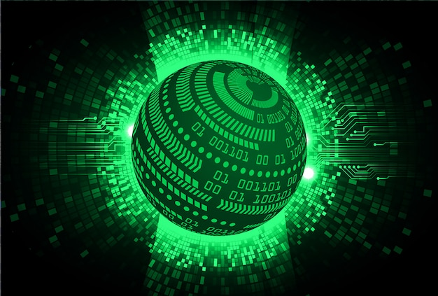 Groene wereld cyber circuit toekomst technologie concept achtergrond