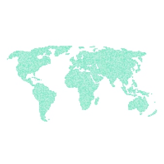 Groene wereldkaart vanuit verschillende punten. concept van infographics element, reis rond de wereld, globalisering. geïsoleerd op een witte achtergrond. vlakke stijl trend moderne logo ontwerp vectorillustratie