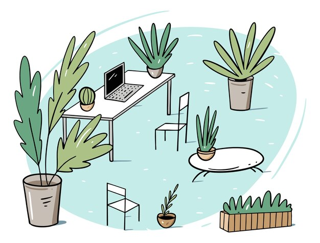 Groene werkplek, coworking of kantoor vlakke afbeelding in cartoon-stijl. geïsoleerd op witte achtergrond.