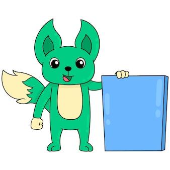 Groene wezel staande met een leeg bord-sjabloon voor spandoek, vector illustratie kunst. doodle pictogram afbeelding kawaii.