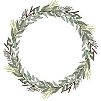 Groene wilde bloem krans cirkelframe met groene plantenrand