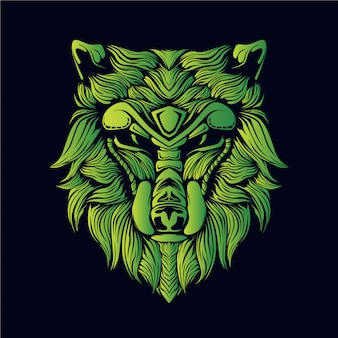 Groene wolf hoofd illustratie