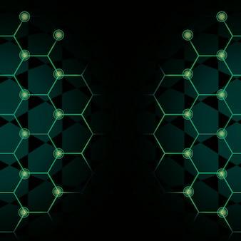Groene zeshoek netwerktechnologie achtergrond vector