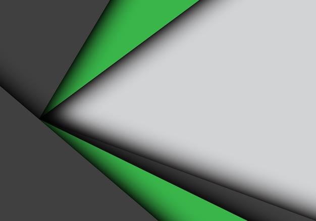 Groene zwarte pijl overlapping op grijze achtergrond.