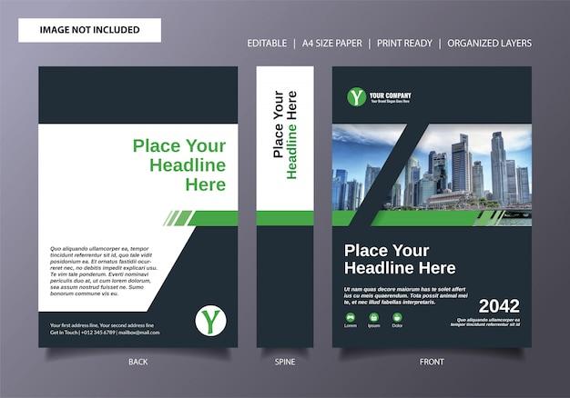 Groene zwarte streep technologie boek cover sjabloon