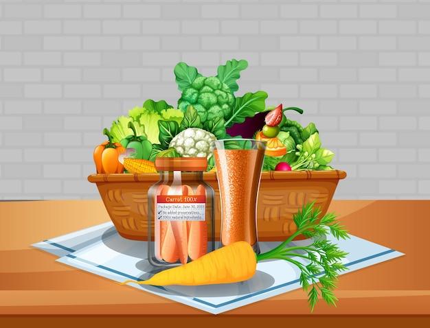 Groente en fruit in een mand op tafel met bakstenen muur achtergrond