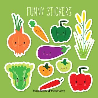 Groente stickers met grappige stijl