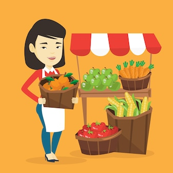 Groenteman met groenten en fruit.