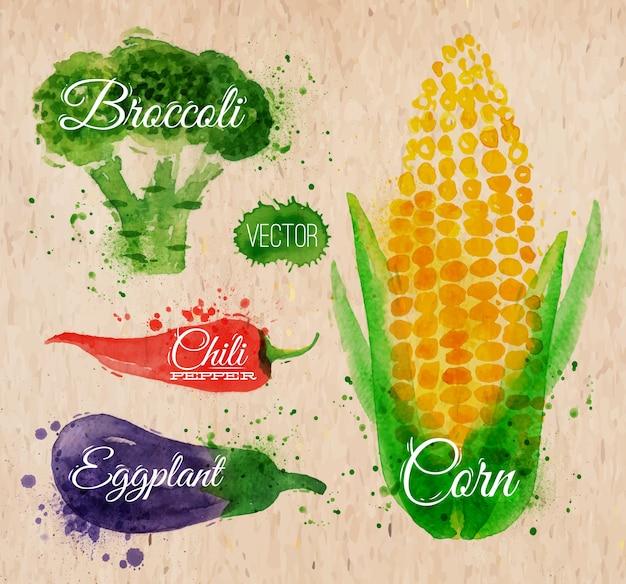 Groenten aquarel maïs