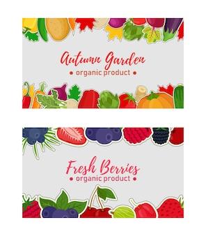 Groenten, bessen label, voucher te koop, markt