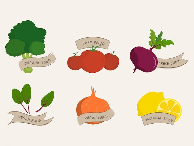 Groenten biologisch etiket gezonde boerderijvoedselbanner en veganistisch natuurlijk bioproduct.