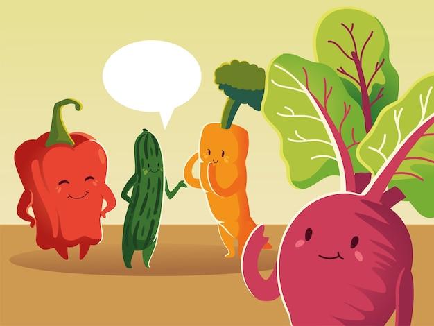 Groenten cartoon wortel tomaat paprika komkommer en radijs gedetailleerd