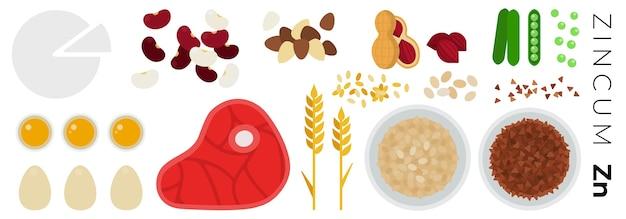 Groenten en dierlijke producten geïsoleerd op wit