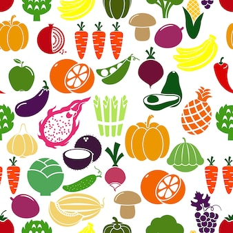 Groenten en fruit achtergrond. patison en radijs, aubergine en granaatappel, erwten en kool. vector illustratie