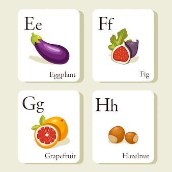 Groenten en fruit alfabet kaarten