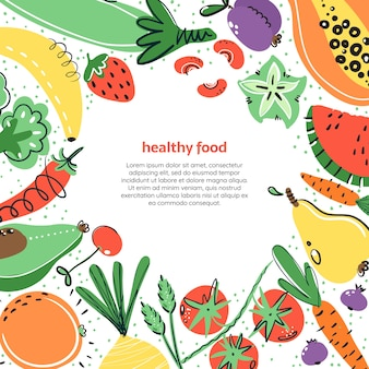 Groenten en fruit handgetekende illustratoin. gezonde maaltijd, dieet, voeding.