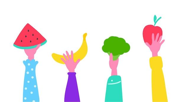 Groenten en fruit in de handen van mensen
