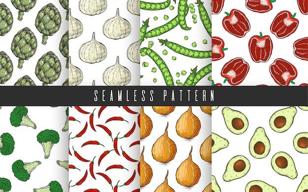 Groenten en fruit instellen naadloze patroon