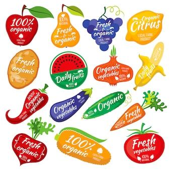 Groenten en fruit kleuren silhouetten