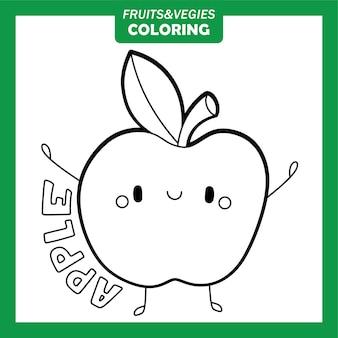 Groenten en fruit kleurende karakters apple