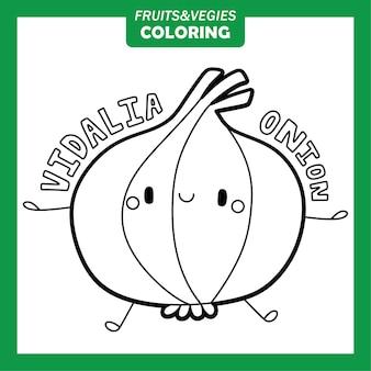 Groenten en fruit kleurende karakters vidalia onion