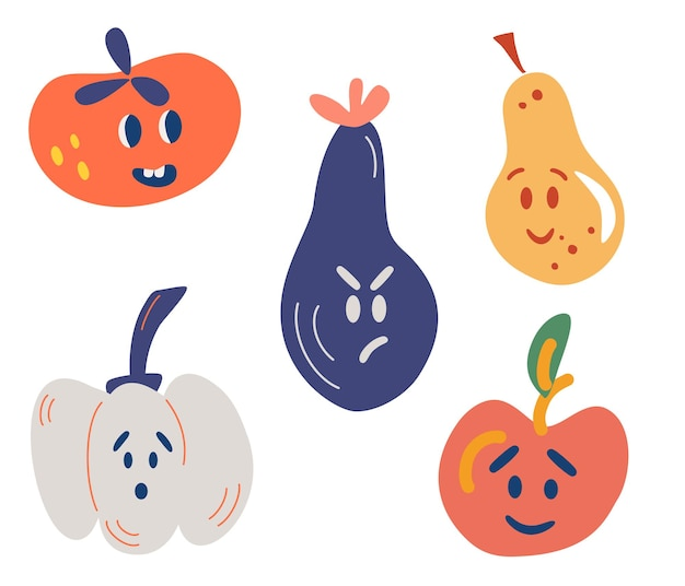 Groenten en fruit met grappige gezichten. tomaat, aubergine, appel, peer, pompoen.