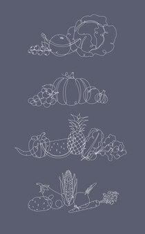 Groenten en fruit pen lijn grijs