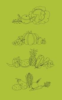 Groenten en fruit pen lijn groen