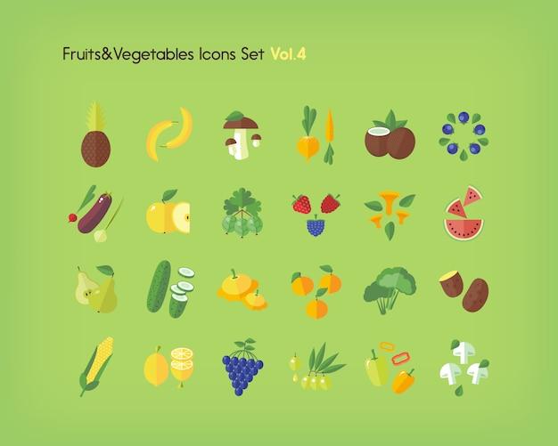 Groenten en fruit pictogrammen instellen. illustratie.