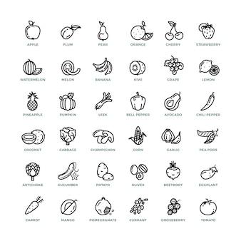 Groenten en fruit schetsen vector iconen