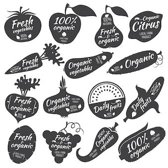Groenten en fruit vectorstickers, etiketten, emblemen