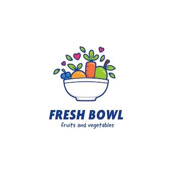 Groenten en fruit verse smoothie kom logo pictogrammalplaatje