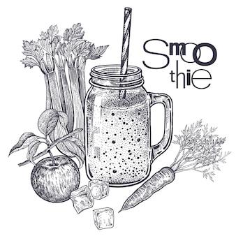 Groenten en fruit voor de bereiding van dranken gezonde dieetvoeding smoothies