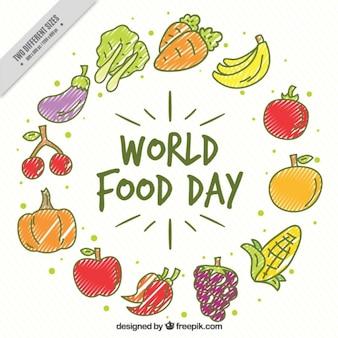 Groenten en fruit voor de dag wereldvoedselvoorziening