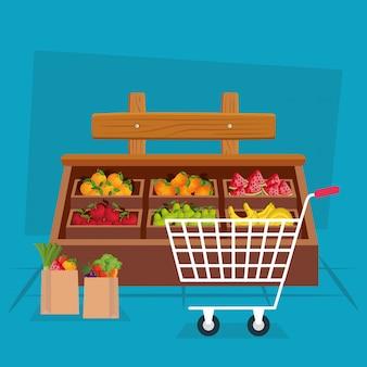 Groenten en fruit winkel illustratie, winkel markt winkelen handel detailhandel kopen en betalen