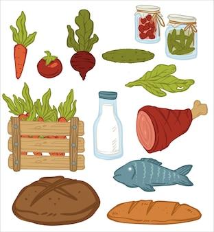 Groenten en vlees, brood en conserven in pot. biologische groenten, wortelen en bieten, komkommer en slablad. vis en verse melk. iconen van natuurlijke kruidenierswaren. vector in vlakke stijl