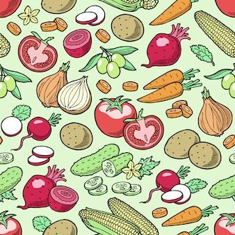 Groenten gezonde voeding van plantaardig tomatenpeper en wortel voor vegetariërs die biologisch voedsel eten van kruidenierswinkel illustratie begroeid set dieet geïsoleerd naadloze patroon achtergrond